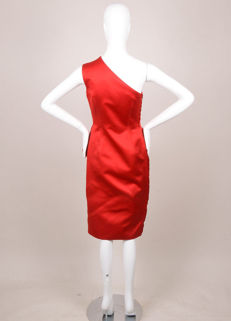 New With Tags Red One Shoulder Peplum Sheath Dress