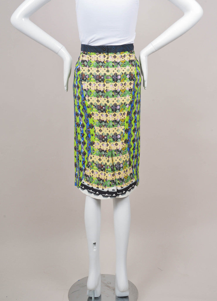 Multicolor Geometric Print Pencil Skirt