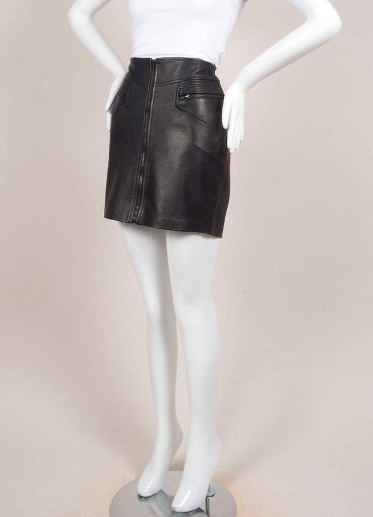"A.L.C. New With Tags Black Multi-Pocket Quilted Trim Zip ""Peter"" Leather Skirt Sideview"