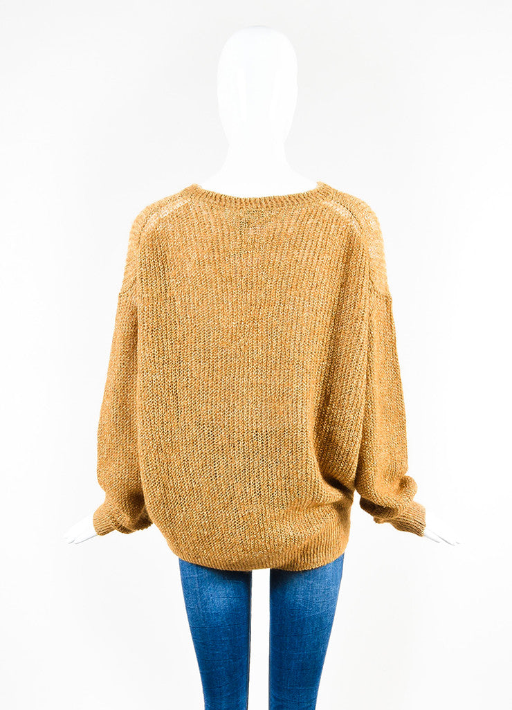 Acne Studios Camel Linen Blend Loose Knit Crew Neck Sweater Backview