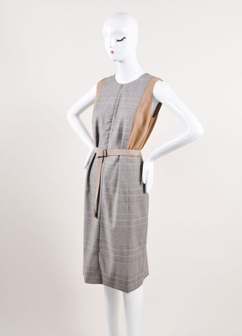 Akris Punto Multicolor Brown Houndstooth Plaid Sleeveless Belted Dress Sideview
