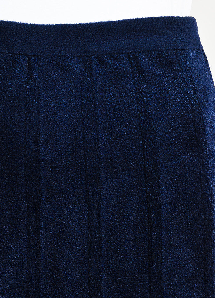 Navy Blue Alaia Velour Thick Seamed Fluted Maxi Skirt Detail