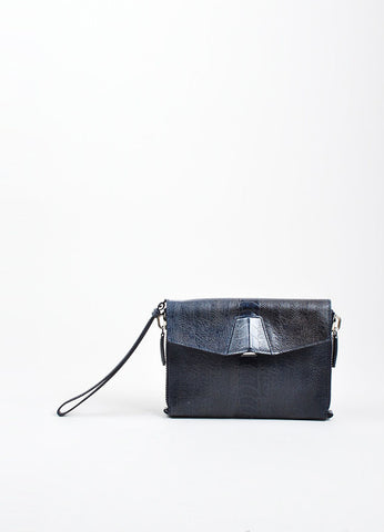 "Navy Blue Alexander Wang Ostrich Effect Leather ""Lydia"" Wristlet Clutch Bag Frontview"