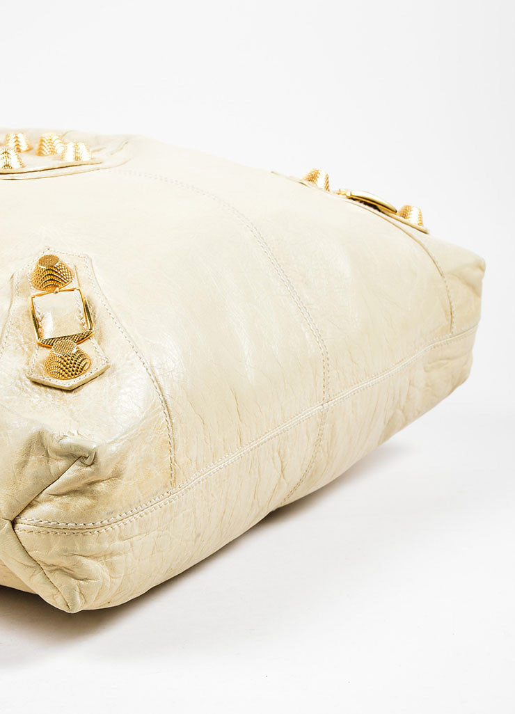 "Beige Leather Balenciaga ""Motocross Giant Brief"" Bag Bottom View"