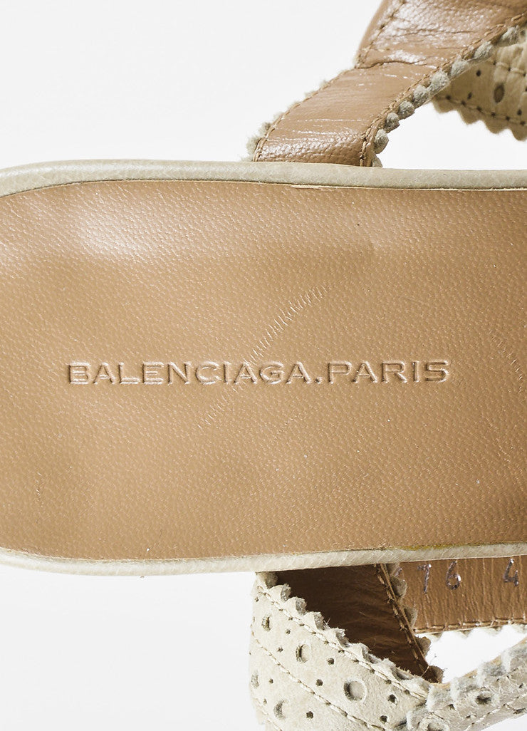 "Balenciaga Beige Distressed Leather Classic Covered ""Brogue"" Wedge Sandals Brand"
