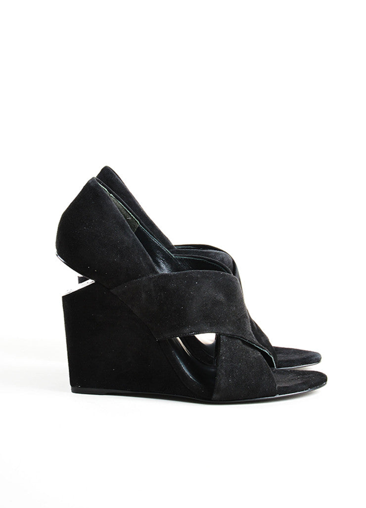 "Alexander Wang Black Suede Metal Plate Cut Out ""Ida"" Wedge Sandals Sideview"