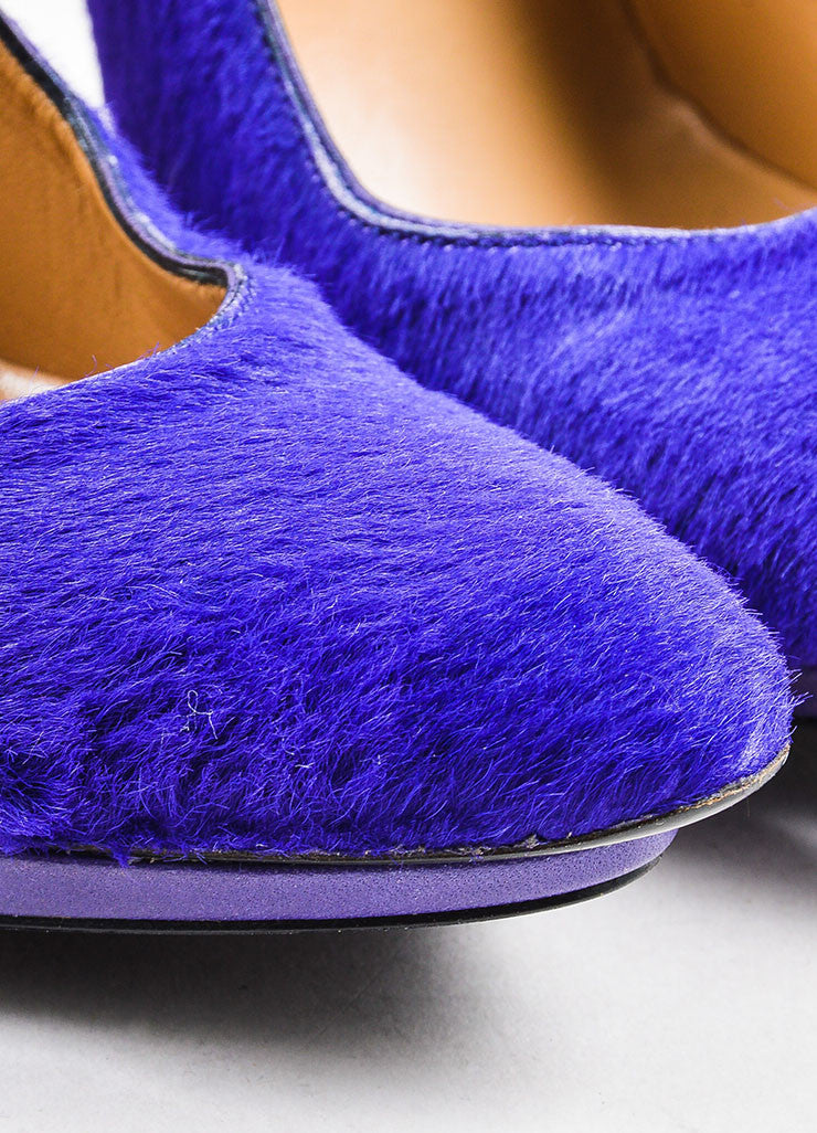 Balenciaga Purple Pony Hair Leather Trim Pointed Toe Stiletto Heel Pumps Detail