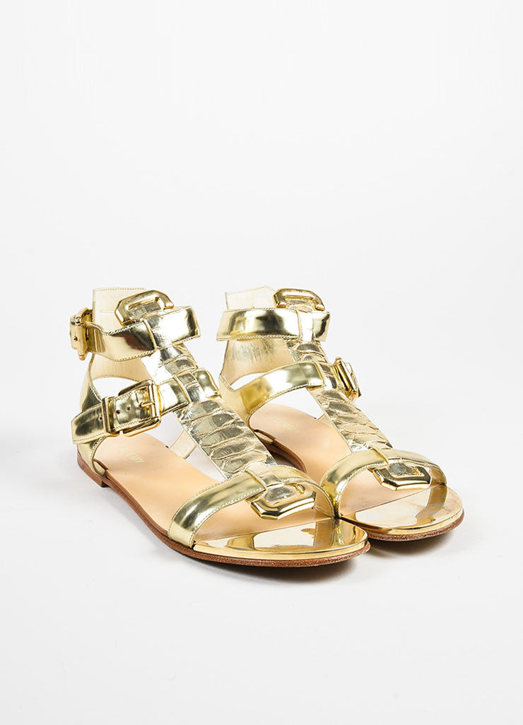 Balmain Gold Metallic Leather Python Buckle Flat Gladiator Sandals Frontview