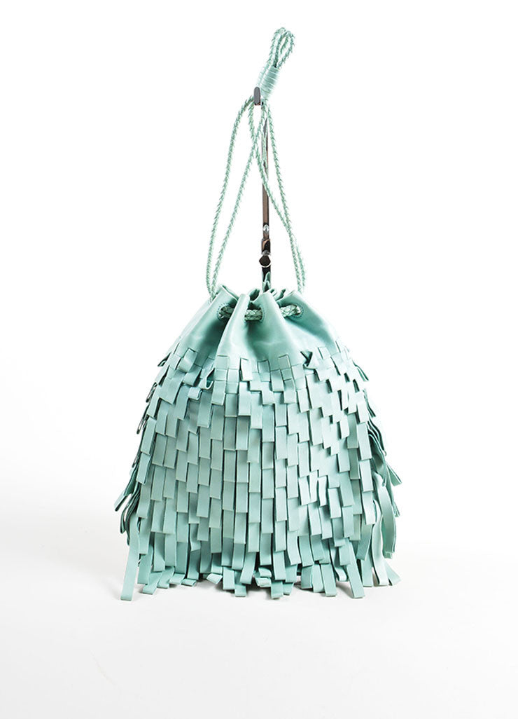 Bottega Venta Mint Green Leather Fringe Drawstring Pouch Bag Frontview