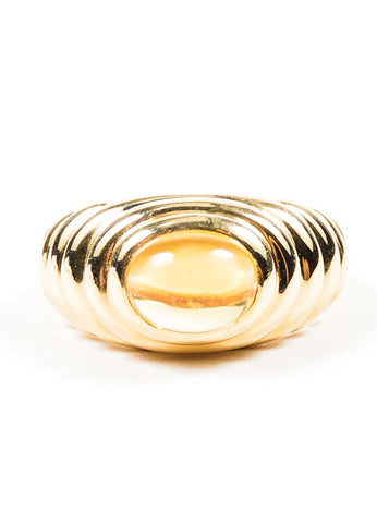 18K Yellow Gold and Citrine Bulgari Scalloped Ridged Ring Frontview