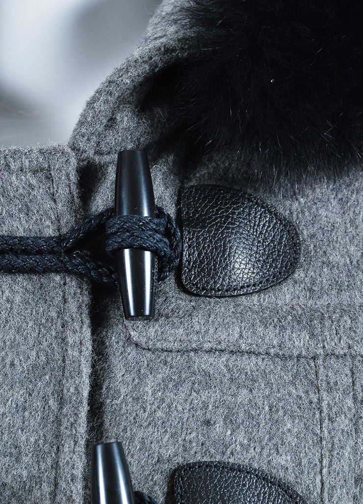 Burberry Brit Grey Wool Fox Fur Trimmed Duffle Hooded Toggle Coat Detail