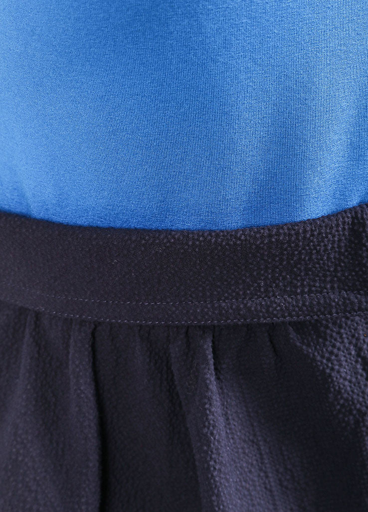 Carven Navy Blue Colorblock Sleeveless Combo Dress Detail