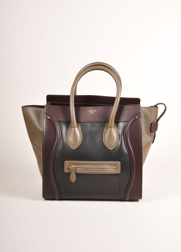 "Celine $3100 Brown Black Taupe Gray Tri Color Leather Mini ""Luggage"" Tote Bag Front View"