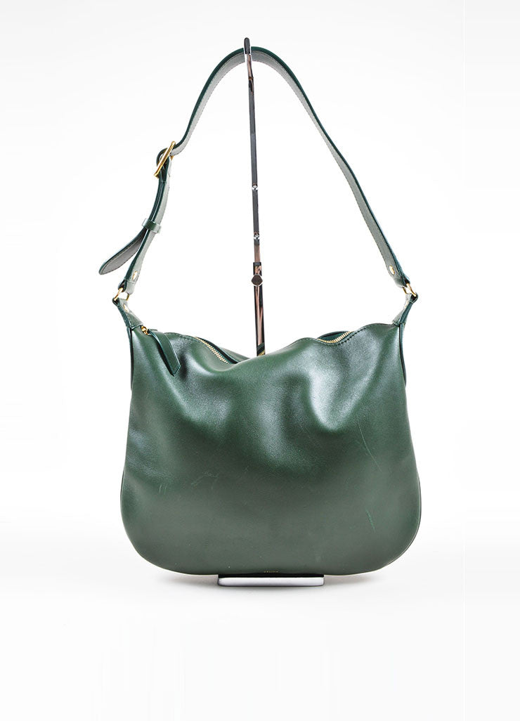 Green Leather Celine Zip Flat Shoulder Bag Front