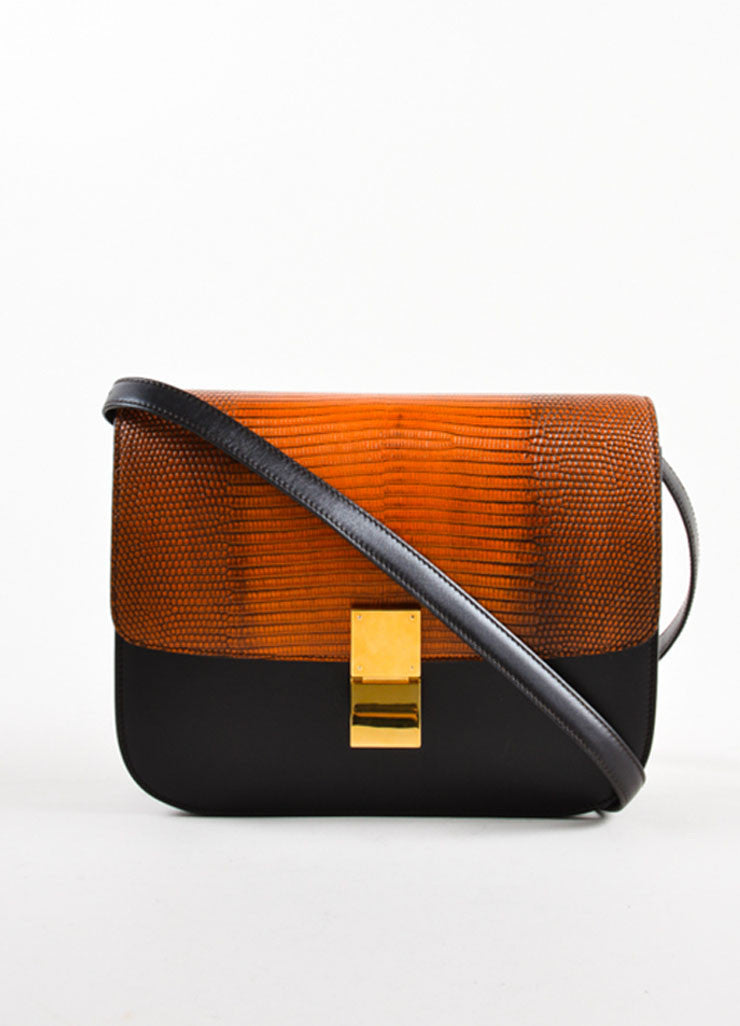 Celine Orange and Brown Lizard Leather Box Flap Shoulder Bag Frontview