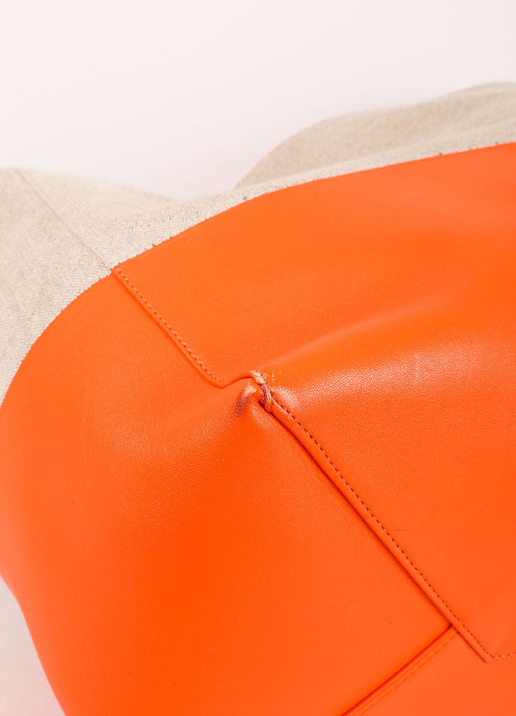 "Celine Orange and Natural Linen and Leather ""Horizontal Bi Cabas"" Tote Bag Detail"