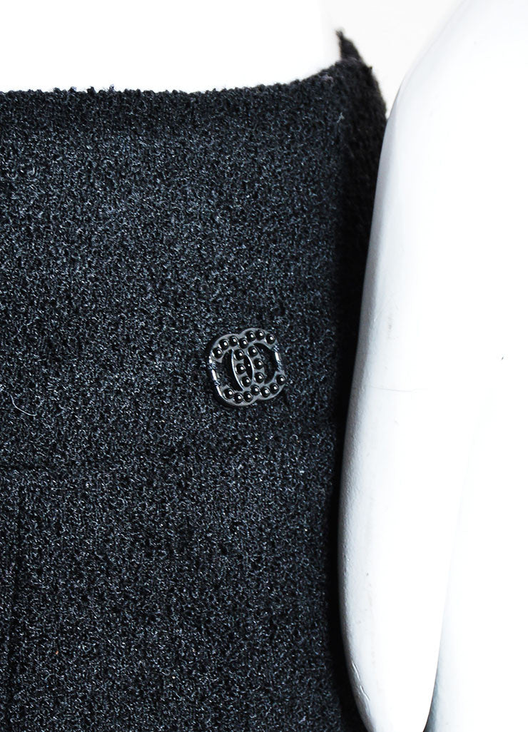 Chanel 03A Black Wool Textured Pencil Skirt  Detail