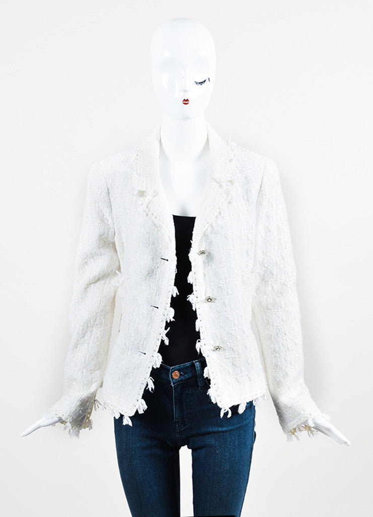 Chanel Cream Tweed Silver Toned Camellia Flower Button Jacket Frontview