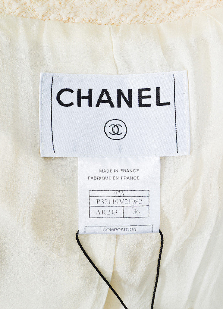 Chanel Cream Tweed Gold Toned Chain Trim Tweed Jacket Skirt Suit Brand