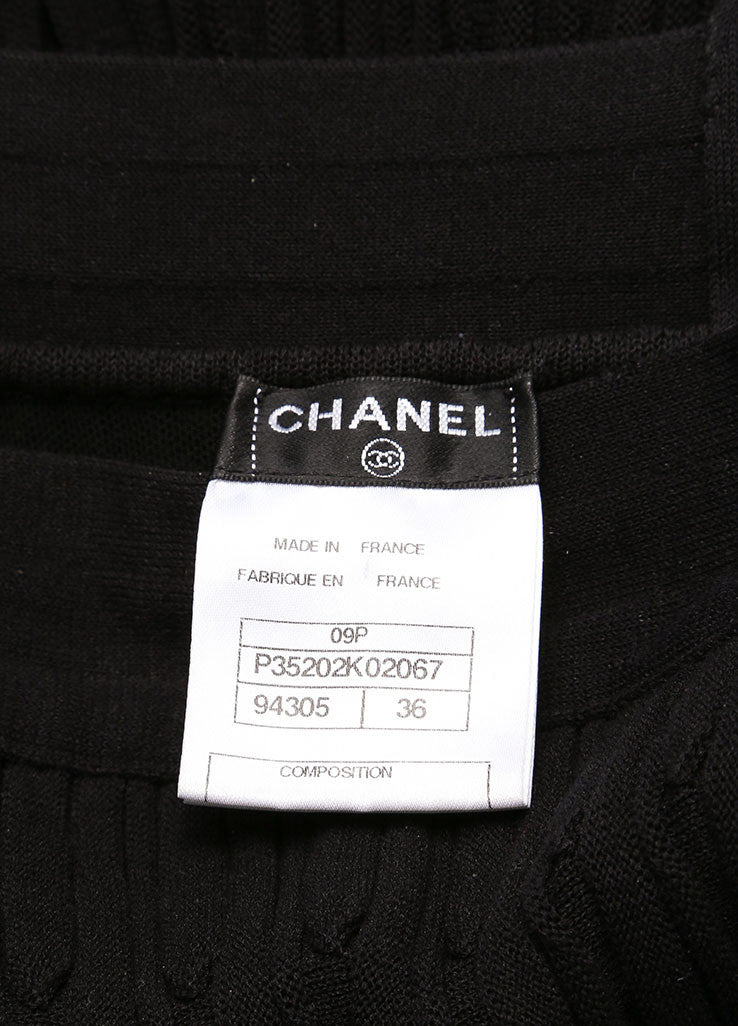 Chanel Black Wool Woven Knit Frayed Chain Embellished Sleeveless Dress Brand