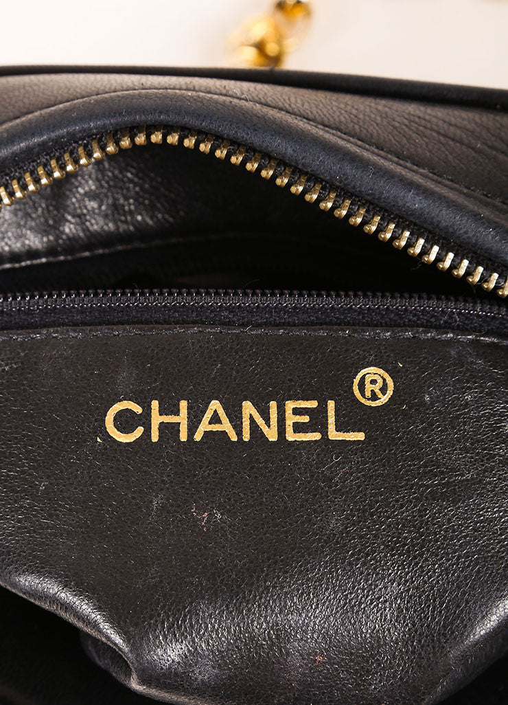 Chanel Black Quilted Leather Tassel Gold Toned Chain Camera Bag Brand