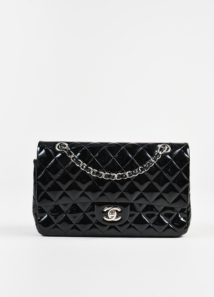 "Chanel Black Patent Leather Quilted ""Classic Medium Double Flap"" Bag Front"