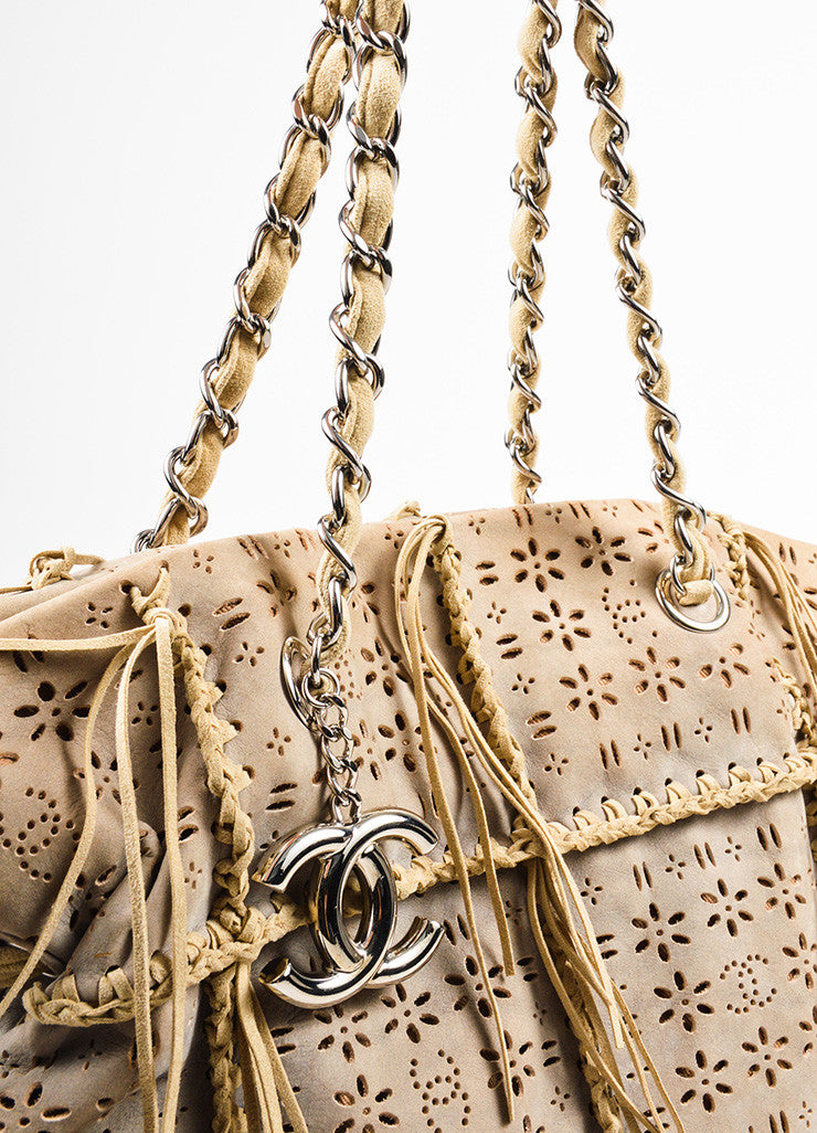 Tan Chanel Perforated Laser Cut Woven Fringe Drawstring Tote Bag Detail 2