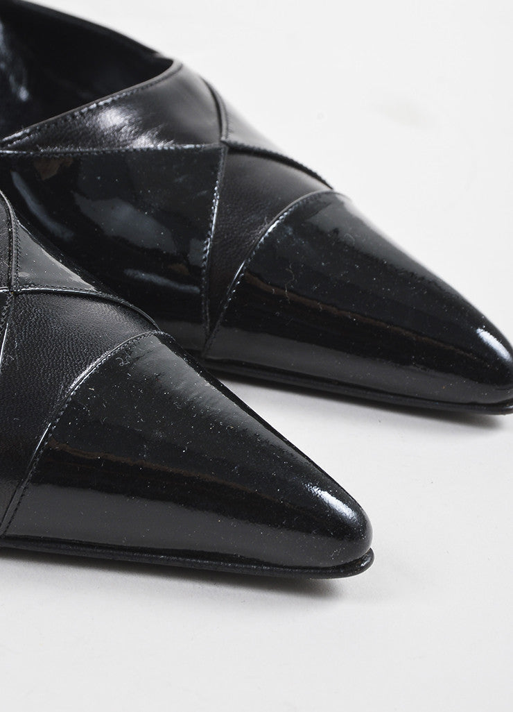 Chanel Black Leather Patent Leather Cap Toe Wrap Up Pumps Detail