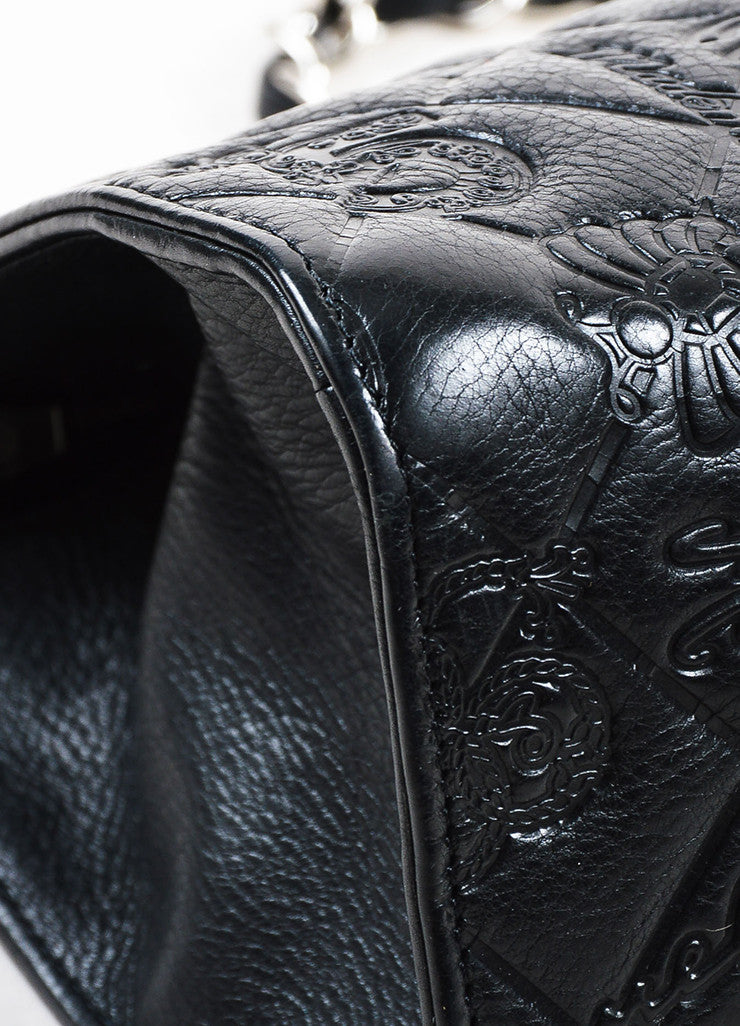 "Black Chanel Leather Quilted Embossed ""Precious Symbols"" Chain Shoulder Bag Detail"