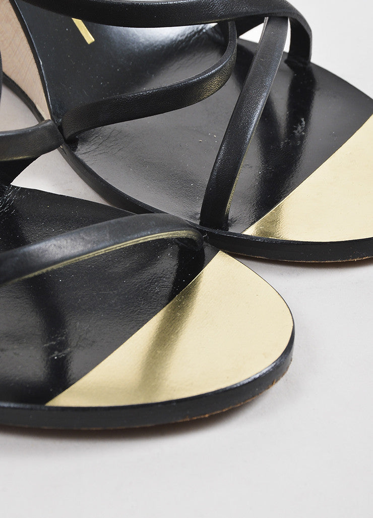Chanel Black, Metallic Gold, and Cream Leather Strappy Wedge Sandals Detail