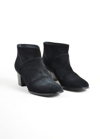 Chanel Black Suede 'CC' Stitched Low Chunky Heel Ankle Boots Frontview