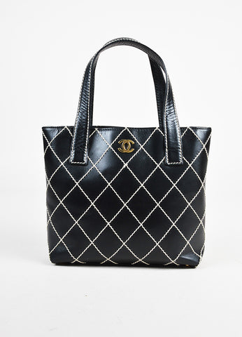 "Chanel Black White Leather Gold Tone 'CC' Double Handle ""Wild Stitch"" Tote Bag brand"