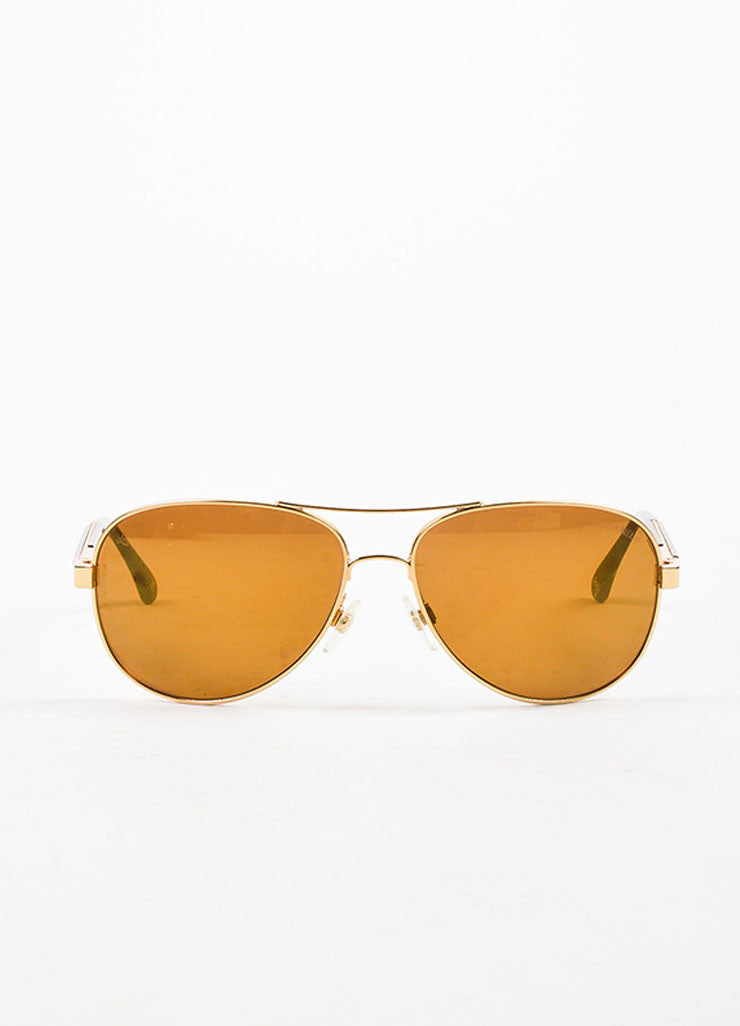 "Brown and Gold Toned Mirror Detail Chanel ""Collection Miroir"" Aviator Sunglasses Frontview"