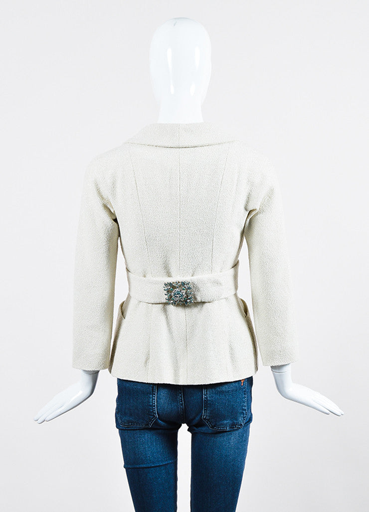 Cream and Silver Chanel Boucle Wool Stone Embellished Wrap Belt Blazer Jacket Backview