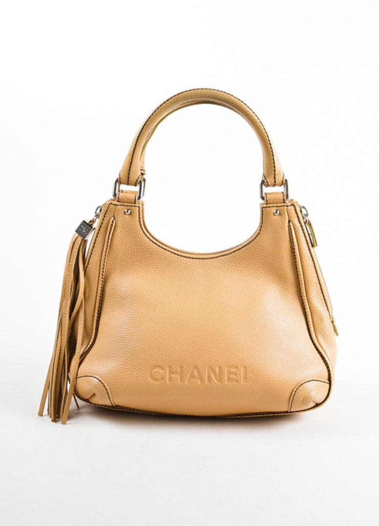 "Chanel Tan Grained Leather ""CC"" and Tassel Side Zip Medium Tote Bag Frontview"
