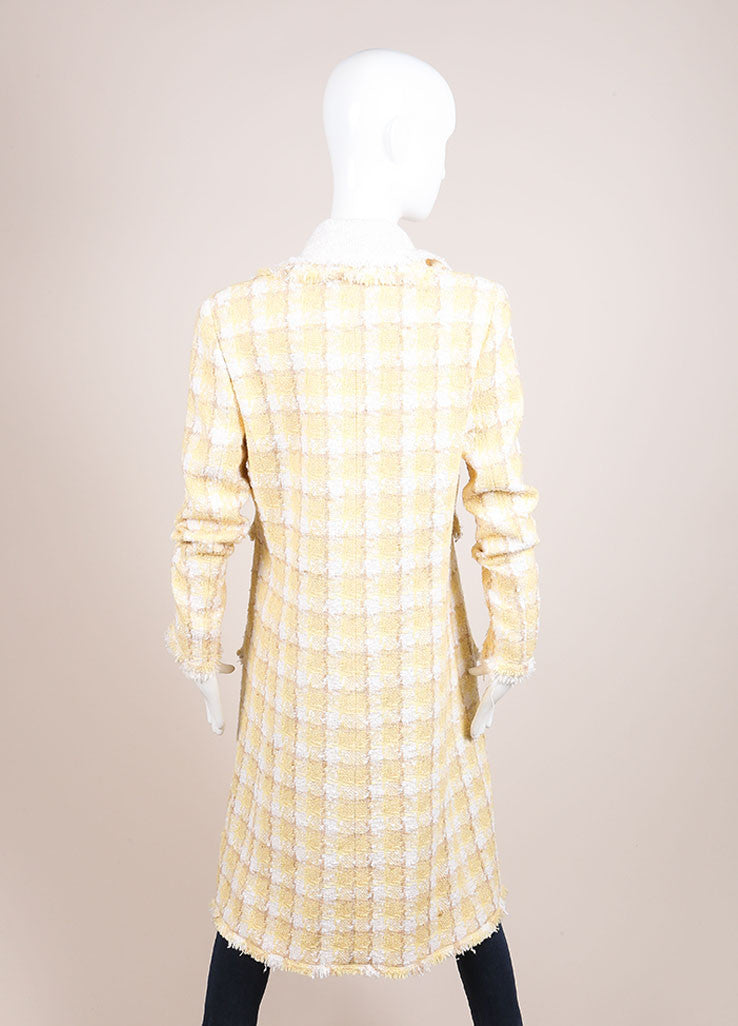 Chanel Yellow and White Woven Tweed Plaid Print Fringe Trim Long Sleeve Coat Backview
