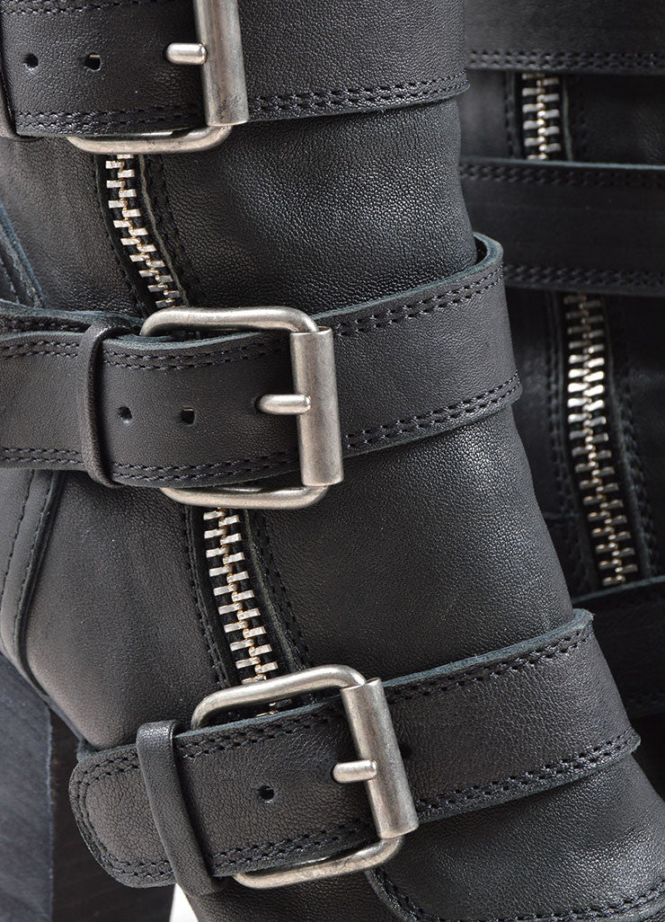 Chloe Black Leather Buckle Zip Up Mid Calf Motorcyle Boots Detail