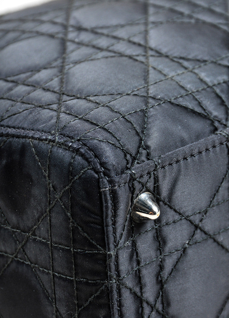 "Black Silk and Leather Christian Dior ""Cannage Large Lady Dior"" Cross Body Bag Detail"