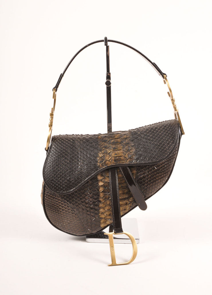 Christian Dior Brown and Bronze Python Leather Saddle Bag Frontview