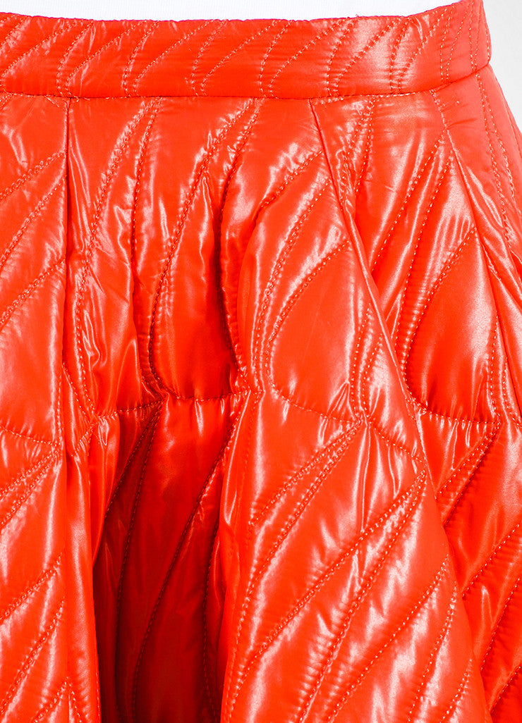 Red Christian Dior Quilted Nylon Angled Pleated Skirt Detail