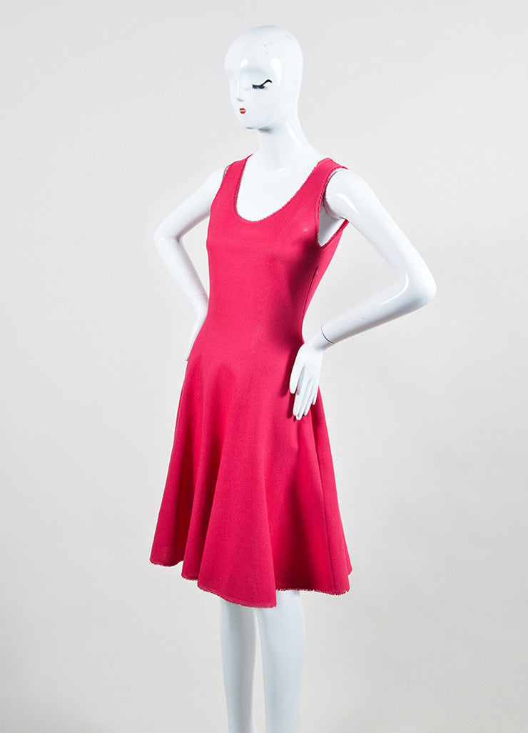 Pink Christian Dior Silk and Cotton Knit Sleeveless Fit and Flare Dress Sideview