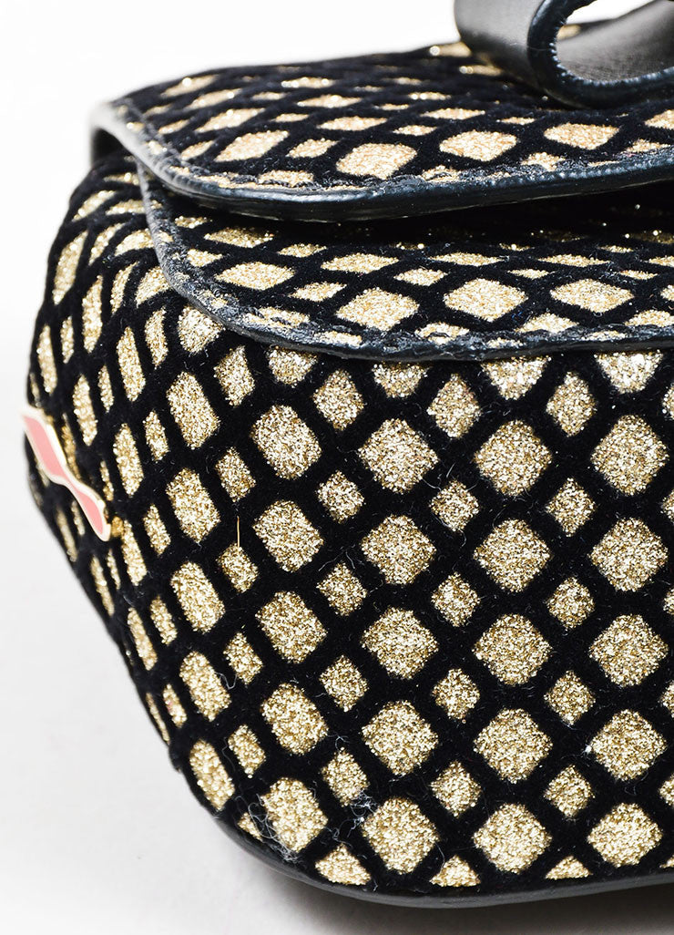 "Black and Gold Metallic Christian Louboutin Chain Strap ""Sweet Charity"" Evening Bag Detail"