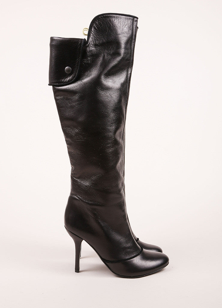 Claudia Ciuti Black Leather Buttoned Flap Knee High Heeled Boots Sideview