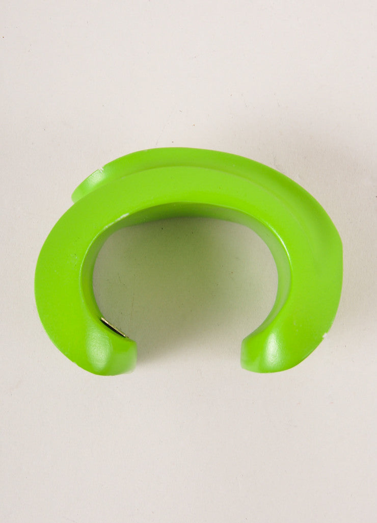 Emilio Pucci Lime Green Structured Painted Wooden Chunky Cuff Bracelet Topview