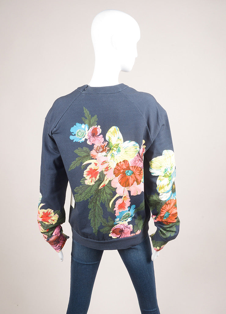 "Erdem New With Tags Navy and Multicolor Floral Graphic ""Zea"" Long Sleeve Pullover Backview"