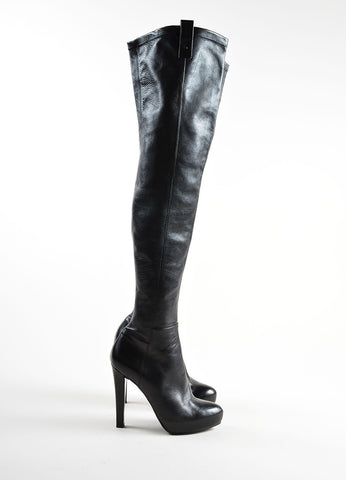 Ermanno Scervino Black Leather Over The Knee Platform Heeled Boots Sideview