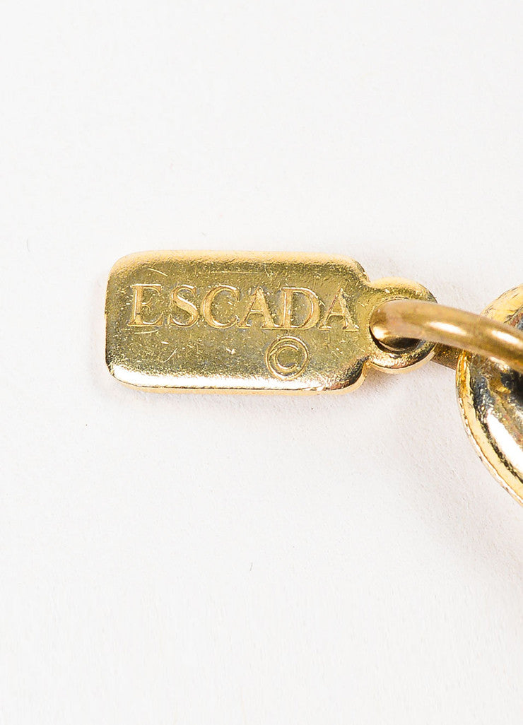 Escada Gold Toned Triple Link Chain Oversized Nautical Star Charm Choker Necklace Brand