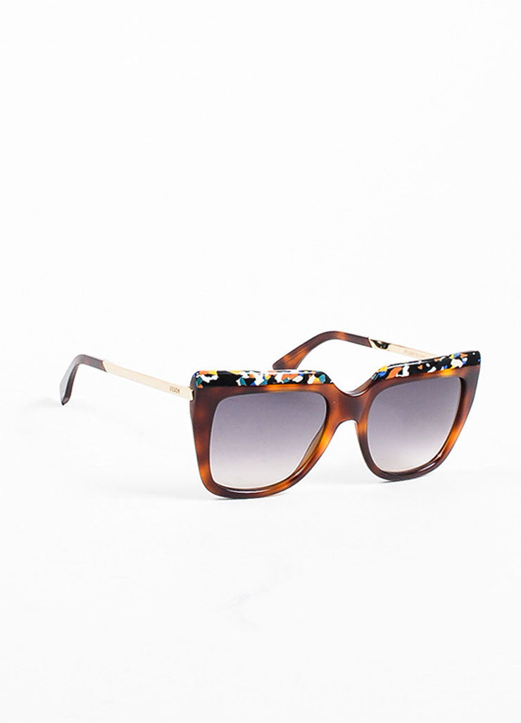 Fendi Brown Tortoise Shell Confetti Design Square Frame Sunglasses Sideview