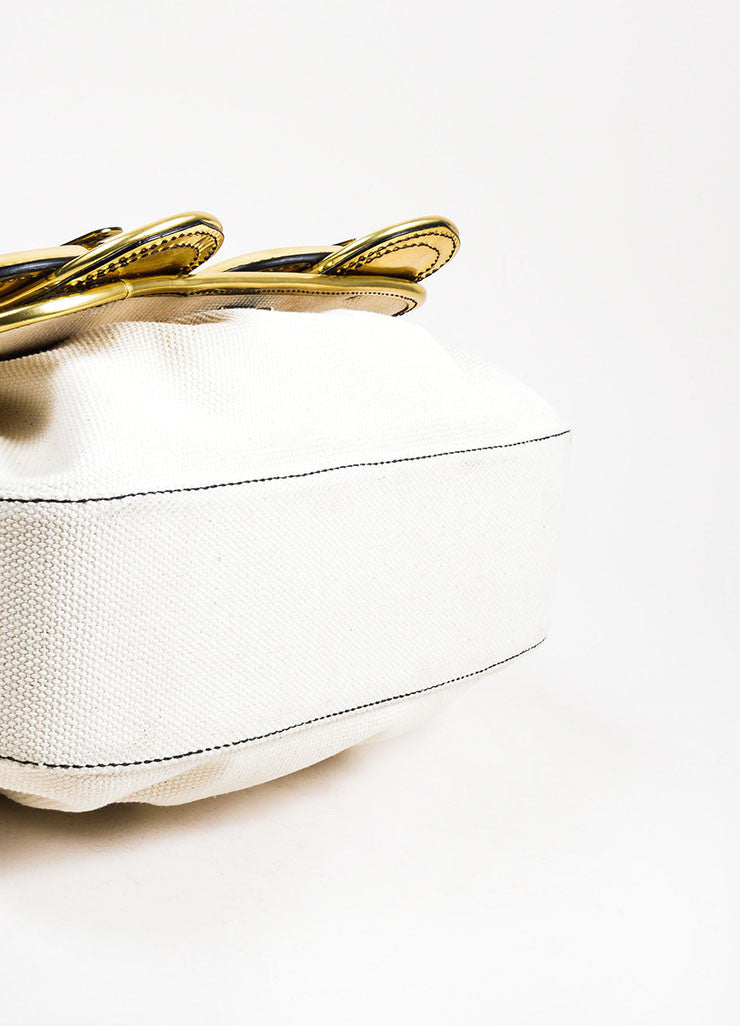 "Cream and Gold Fendi Metallic Leather and Canvas Oversized Buckle ""B"" Bag Bottom View"