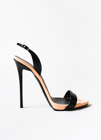 Giuseppe Zanotti Peach and Black Patent Leather Sandal Heels Sideview